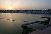 India, Rajasthan, Pushkar, The holy Brahman lake at sunset