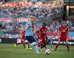 July 8, 2018 - Bronx, New York, United States - New York City defender ANTON TINNERHOLM (3) crosses the ball in the first half during a regular season match at Yankee Stadium in Bronx, NY.  New York City FC defeats the New York Red Bulls 1 to 0 (Credit Image: © Mark Smith via ZUMA Wire)