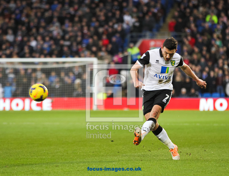 Picture by Tom Smith/Focus Images Ltd 07545141164<br /> 01/02/2014<br /> Robert Snodgrass of Norwich City crosses the ball during the Barclays Premier League match at the Cardiff City Stadium, Cardiff.
