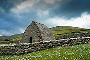 Dingle peninsula. The Gallarus Oratory, a finest exemple of Christian architecture, with a roof like a ship hull.