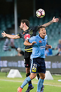 February 8, 2017: Sydney FC forward Filip HOLOSKO (21) and Wellington Phoenix Kosta BARBAROUSES (9) go up for the ball at Round 19 of the 2017 Hyundai A-League match, between Sydney FC and Wellington Phoenix played at Allianz Stadium in Sydney. Sydney FC won the game 3-1.