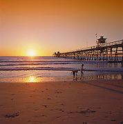San Clemente Beach and Pier At Sunset
