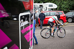 Elena Cecchini (ITA) of CANYON//SRAM Racing rides to the start before the Aviva Women's Tour 2016 - Stage 2. A 140.8 km road race from Atherstone to Stratford upon Avon, UK on June 16th 2016.