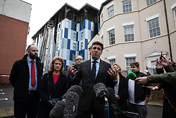 "© Licensed to London News Pictures. 16/11/2019. Bolton, UK. PAUL DENNETT of Greater Manchester's High Rise Taskforce , Deputy Mayor of Greater Manchester BEV HUGHES , DAVID GREENHALGH of Bolton Council , Mayor of Bolton Mayor of Manchester ANDY BURNHAM and SANDRA RUIZ and TIAGO ALVES of Grenfell United, both of whom are former Grenfell Tower residents , at a press conference at the site of the blaze . Firefighters work at the scene where a fire broke out overnight (15th/16th November 2019) at a block of flats known as "" The Cube "" , in Bolton Town Centre . At least two people are known to have been treated by paramedics at the scene of the six-story block , which is occupied by students of the University of Bolton . Photo credit: Joel Goodman/LNP"
