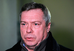 Governor of Rostov Region Vasily Golubev attends an emergency meeting in Rostov-on-Don, southwestern Russia, March 19, 2016. A Boeing 737 passenger plane from Dubai crashed early Saturday at the destination airport in southwestern Russia, with all the some 60 people on board feared to have been killed, emergencies authorities and local media reports said. EXPA Pictures © 2016, PhotoCredit: EXPA/ Photoshot/ RIA<br /> <br /> *****ATTENTION - for AUT, SLO, CRO, SRB, BIH, MAZ, SUI only*****