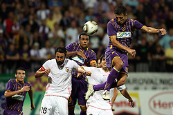 Mattia Cassani of Palermo vs Marcos Magno Morales Tavares and of Maribor during the UEFA Europa League play-offs second leg match between NK Maribor and US Citta di Palermo at Ljudski vrt Stadium on August 26, 2010 in Maribor, Slovenia. Maribor defeated Palermo 3-2 but Palermo won in total 5-3 and qualified for Europa league. (Photo by Marjan Kelner / Sportida)