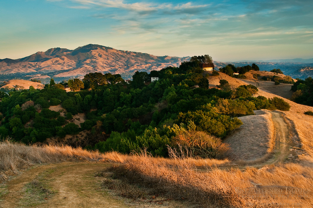 Hiking trail and Mount Diablo at sunset as seen from Briones Regional Park, Contra Costa County, California