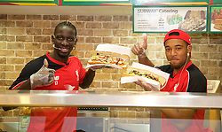 KUALA LUMPUR, MALYASIA - Thursday, July 23, 2015: Liverpool's Jordon Ibe and Mamadou Sakho during a Subway event at the Paradigm Mall on day eleven of the club's preseason tour. (Pic by David Rawcliffe/Propaganda)