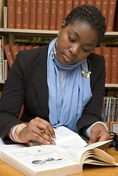 University student studying in the College Library,