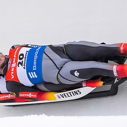 11 January 2020, Saxony, Altenberg: Luge: World Cup, men's doubles, first heat. Robin Johannes Geueke and David Gamm from Germany in action in the first run. Photo: Matthias Rietschel/dpa-Zentralbild/dpa <br /> <br /> Photo by Icon Sport - Altenberg (Allemagne)