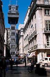PORTUGAL LISBON MAY99 - One of Lisbon's most eccentric structures, the cast-iron Elevator Santa Justa links the Baixa with the Barrio Alto. jre/Photo by Jiri Rezac....© Jiri Rezac 1999....Tel:   +44 (0) 7050 110 417..Email: info@jirirezac.com..Web:   www.jirirezac.com