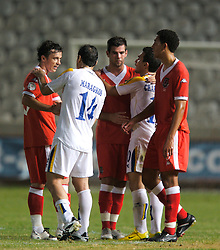 Nicosia, Cyprus - Saturday, October 13, 2007: Wales' Simon Davies, Joe Ledley and Lewin Nyatanga look dejected as they lose 3-1 to Cyprus during the Group D UEFA Euro 2008 Qualifying match at the New GSP Stadium in Nicosia. (Photo by David Rawcliffe/Propaganda)