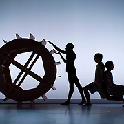 "April 5, 2012 - New York, NY : From left, Davon Rainey, James McGinn, and Adam H. Weinert perform in Jonah Bokaer and Davide Balliano's ""Metro Repitition"" during a dress rehearsal of The Baryshnikov Arts Center and The Watermill Center's presentation of ""On The Beach,"" inspired by -- and to celebrate the 35th anniversary of -- the Robert Wilson and Philip Glass opera ""Einstein on the Beach"" at the Baryshnikov Arts Center in Manhattan on Thursday night.  CREDIT : Karsten Moran for The New York Times"