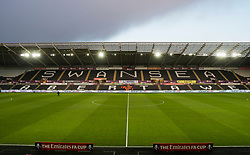 General view inside the liberty stadium with Fa cup signage - Mandatory by-line: Alex James/JMP - 27/02/2018 - FOOTBALL - Liberty Stadium - Swansea, England - Swansea City v Sheffield Wednesday - Emirates FA Cup fifth round proper