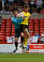 Photo: Steve Bond/Richard Lane Photography.<br />Nottingham Forest v Watford. Coca-Cola Football League Championship. 23/08/2008. Paul Smith gathers under pressure from Grzegorz Rasiak