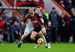 BOURNEMOUTH, ENGLAND - Saturday, December 8, 2018: Liverpool's captain James Milner (L) and AFC Bournemouth's Ben Whitfield  during the FA Premier League match between AFC Bournemouth and Liverpool FC at the Vitality Stadium. (Pic by David Rawcliffe/Propaganda)