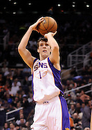 Mar. 1, 2013; Phoenix, AZ, USA; Phoenix Suns guard Goran Dragic (1) shoots the ball against the Atlanta Hawks in the second half at US Airways Center. The Suns defeated the Hawks 92-87. Mandatory Credit: Jennifer Stewart-USA TODAY Sports