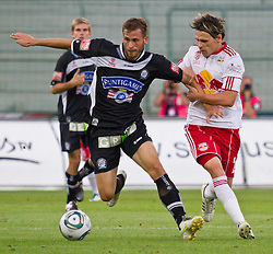 21.08.2011, Red Bull Arena, Salzburg, AUT, 1. FBL, Red Bull Salzburg vs Sturm Graz, im Bild Zweikampf zwischen Juergen Saeumel, (SK Puntigamer Sturm Graz, #28) und Christoph Leitgeb, (FC Red Bull Salzburg, #24), // during the Austrian Bundesliga Match, Red Bull Salzburg vs Sk Sturm Graz, Red Bull Arena, Salzburg, 2011-08-21, EXPA Pictures © 2011, PhotoCredit: EXPA/ P.Rinderer