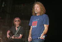 Robert Plant on right and Ian Hunter performing during the Arthur Lee benefit concert at The Beacon Theater on June 23, 2006. .