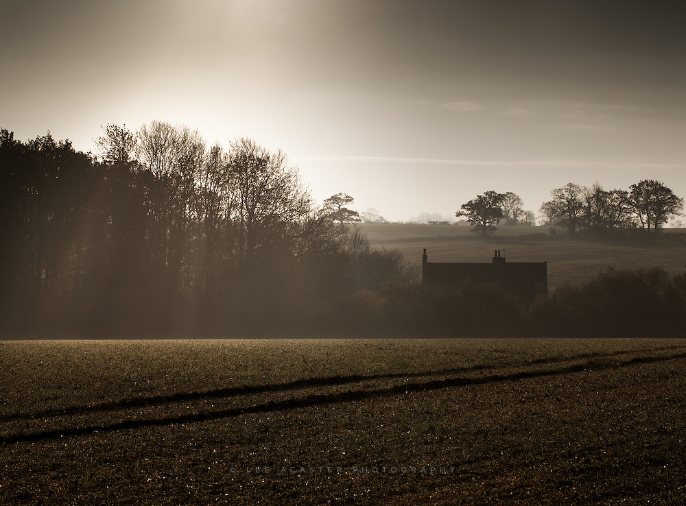 Cold winter light illuminates a cottage at Sibton in Suffolk