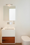 interior modern house, white bathroom, sink and toilet