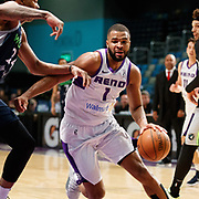 Reno Bighorns Guard AARON HARRISON (1) drives against Iowa Wolves Center JUSTIN PATTON (24) during the NBA D-League Basketball game between the Reno Bighorns and the Iowa Wolves at the Reno Events Center in Reno, Nevada.