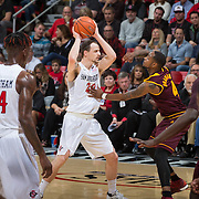 10 December 2016: The San Diego State Aztecs men's basketball team host's Saturday afternoon at Viejas Arena. San Diego State forward Matt Shirley (20) looks to pass the ball while being defended by Arizona State guard Torian Graham (4) in the second half. The Aztecs fell to the Sun Devils 74-63. www.sdsuaztecphotos.com