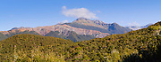 Panoramic view of Staircse Mountain the Olivine Range, Southern Alps, from Martyr Saddle, West Coast, New Zealand.