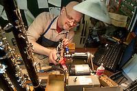 Repairing clarinets at Howarth, Chiltern Street.