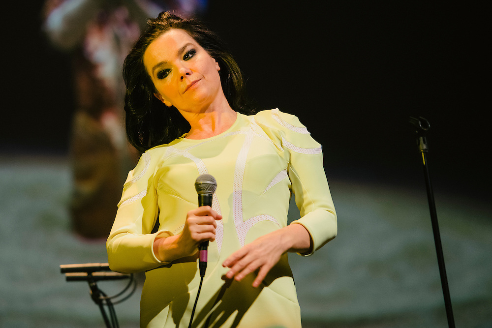 Photos of Icelandic musician Björk performing live for 'Stopp - Let's Protect the Park' nature benefit concert at Harpa concert hall in Reykjavík, Iceland. March 18, 2014. Copyright © 2014 Matthew Eisman. All Rights Reserved