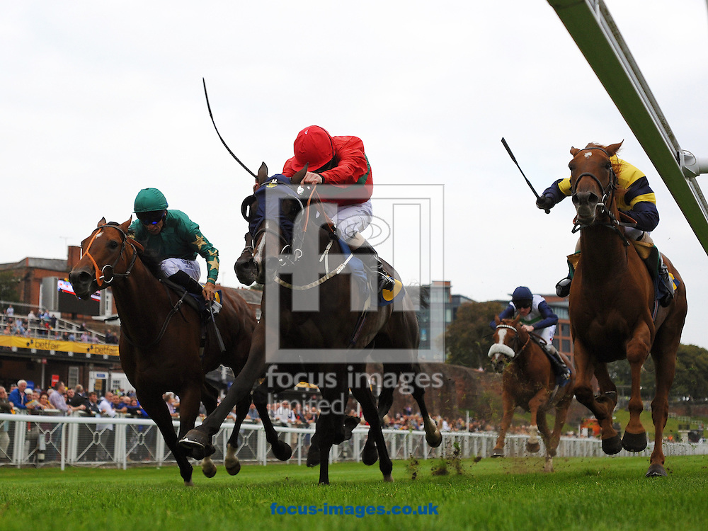 Mambo Rhythm and jockey Joe Fanning (c) win The Better Odds With Betfair Price Rush Handicap Stakes at Chester Races<br /> Picture by Alan Wright/Focus Images Ltd 07733 196489<br /> 12/09/2014