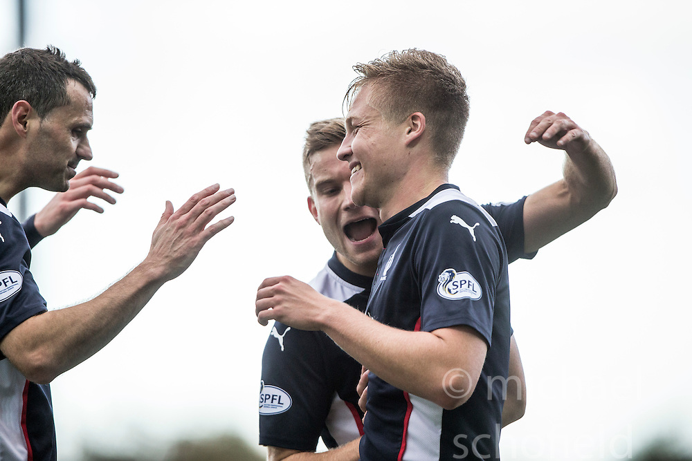 Falkirk's Peter Grant celebrates after scoring their fourth goal.<br /> Falkirk 6 v 0 Cowdenbeath, Scottish Championship game played at The Falkirk Stadium, 25/10/2014.