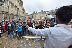 © Licensed to London News Pictures. 06/11/15 Oriel Square Oxford. UK. Protest for the removal of the statue of Cecil Rhodes which is in the front of Oriel College Oxford.. Photo credit : MARK HEMSWORTH/LNP