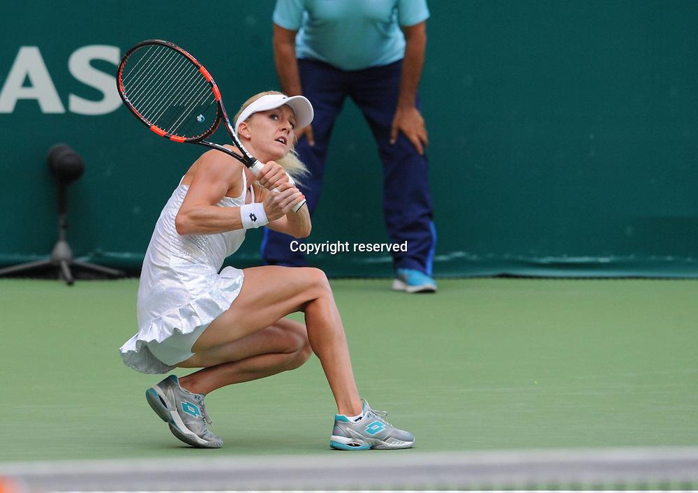21.07.2015. Istanbul, Turkey. WTA BNP Paribas Womens tennis championships.  qualification match between Agnieszka Radwanska (POL) and Jelena Jankovic (SRB) at Garanti Koza Arena in Istanbul on July 21 2015. Match score: Radwanska 2 - Jankovic 1. (6-4) (3-6) (6-2)  Agnieszka Radwanska