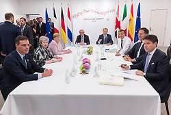 From left to right, Pedro Sanchez, Theresa May, Angela Merkel, Jean-Claude Juncker, Donald Tusk, Emmanuel Macron, Mark Rutte and Giuseppe Conte.<br /> EU meeting with French President Emmanuel Macron, Prime Minister of United Kingdom Theresa May, German Chancellor Angela Merkel, President of European Commission Jean-Claude Juncker, Prime Minister of Netherland Mark Rutte, President of European Council Donald Tusk, Prime Minister of Spain Pedro Sanchez and Prime Minister of Italy Giuseppe Conte during G20. Osaka, Japan, on June 29, 2019. Photo by Jacques Witt/Pool/ABACAPRESS.COM