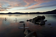 """Sand Harbor Sunset Paddle 1"" - Stand Up Paddleboards at Sand Harbor, Lake Tahoe, Nevada"