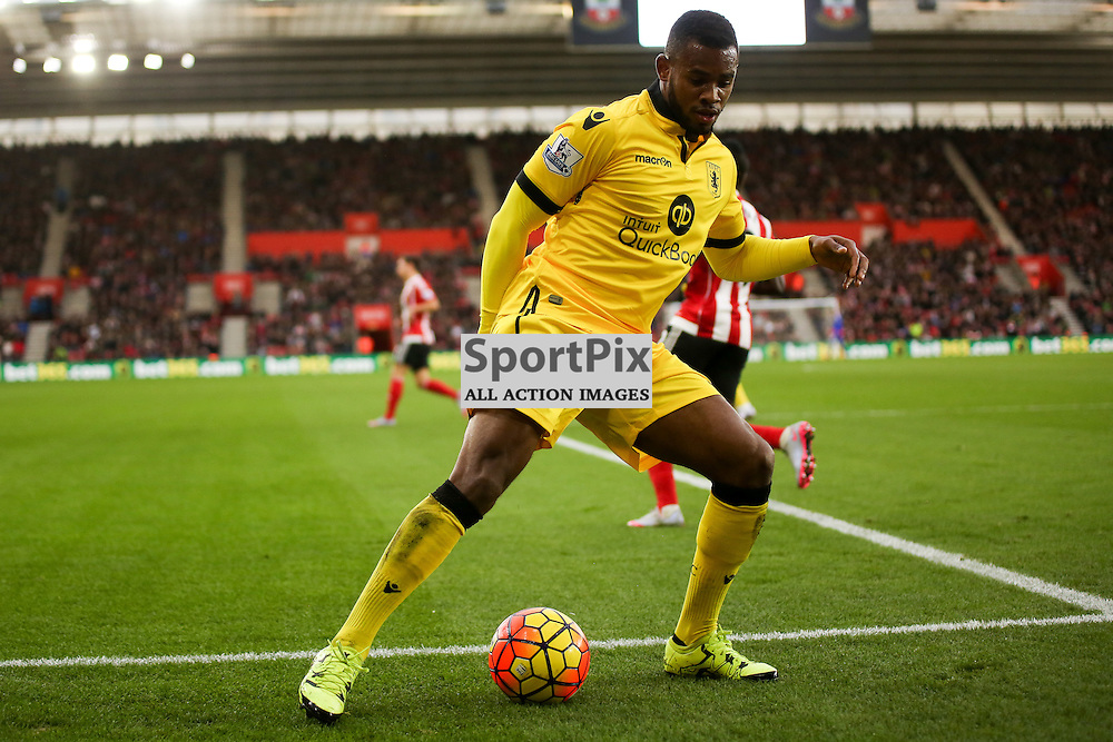 Leandro Bacuna  on the ball During Southampton vs Aston Villa on Saturday the 5th December 2015.