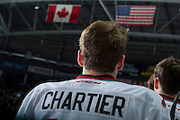 KELOWNA, CANADA - MARCH 25: Rourke Chartier #14 of Kelowna Rockets stands on the bench against the Kamloops Blazers on March 25, 2016 at Prospera Place in Kelowna, British Columbia, Canada.  (Photo by Marissa Baecker/Shoot the Breeze)  *** Local Caption *** Rourke Chartier;