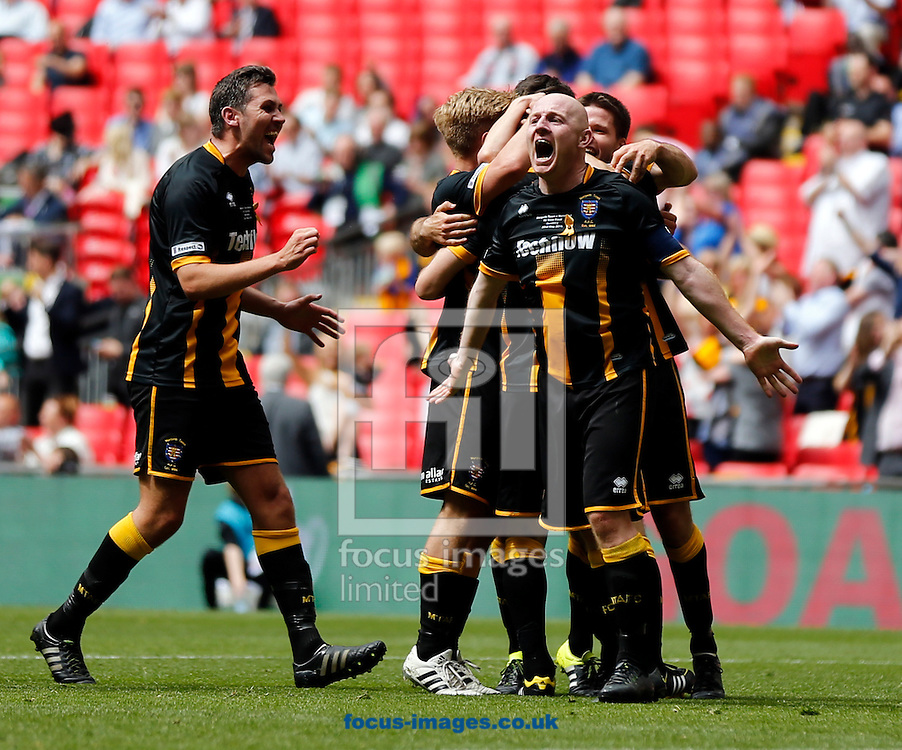 Morpeth Town AFC celebrate scoring to make it 1-4  during the FA Vase Final at Wembley Stadium, London<br /> Picture by Simon Moore/Focus Images Ltd 07807 671782<br /> 22/05/2016