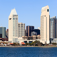 High resolution photo of San Diego skyscrapers along the San Diego Bay waterfront in Southern California.