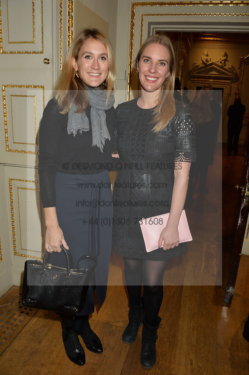 LONDON, ENGLAND 28 NOVEMBER 2016: Left to right, Caroline Manganaro and Rebecca Tooby-Desmond at a reception to celebrate the publication of The Sovereign Artist by Christopher Le Brun and Wolf Burchard held at the Royal Academy of Art, Piccadilly, London, England. 28 November 2016.