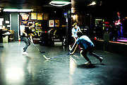 Members of Ra Ra Riot playing steet hockey before the show.