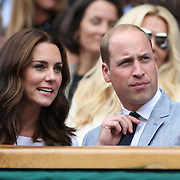 LONDON, ENGLAND - JULY 16: Catherine, Duchess of Cambridge and Prince William, Duke of Cambridge attend the Mens Singles Final between Roger Federer of Switzerland and Marin Cilic of Croatia during the Wimbledon Lawn Tennis Championships at the All England Lawn Tennis and Croquet Club at Wimbledon on July 16, 2017 in London, England. (Photo by Tim Clayton/Corbis via Getty Images)