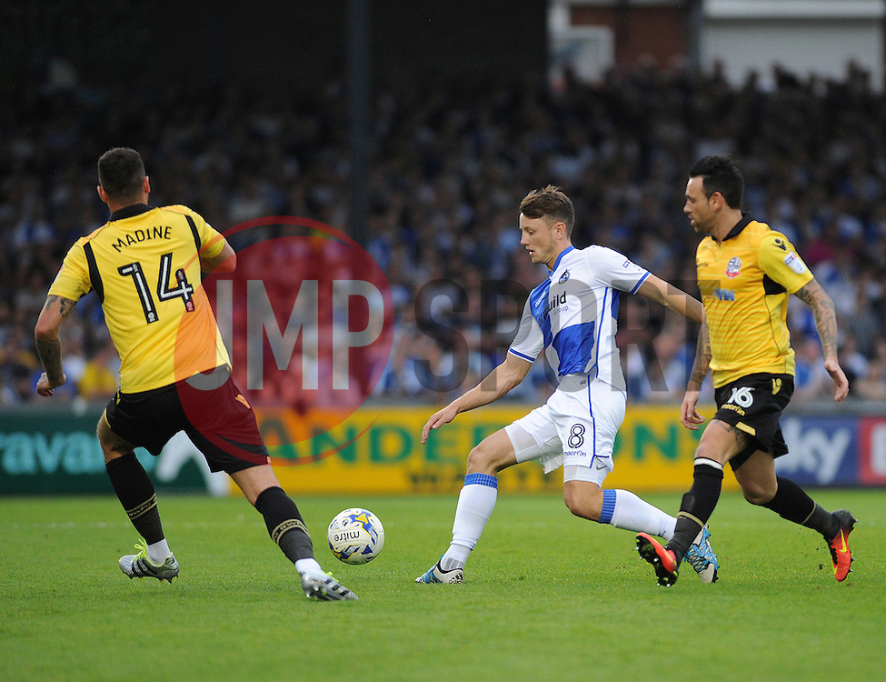 Ollie Clarke of Bristol Rovers is challenged by Gary Madine and Mark Davies of Bolton Wanderers - Mandatory by-line: Neil Brookman/JMP - 17/08/2016 - FOOTBALL - Memorial Stadium - Bristol, England - Bristol Rovers v Bolton Wanderers - Sky Bet League One