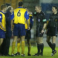 St Johnstone v Queen of the South....20.12.03<br />Ref Kenny Clark sends away QoS boss John Connolly as he protests at eh end of the game<br /><br />Picture by Graeme Hart.<br />Copyright Perthshire Picture Agency<br />Tel: 01738 623350  Mobile: 07990 594431