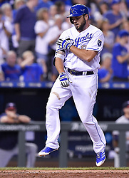 June 30, 2017 - Kansas City, MO, USA - The Kansas City Royals' Mike Moustakas celebrates while stepping on home plate after a solo home run in the sixth inning against the Minnesota Twins at Kauffman Stadium in Kansas City, Mo., on Friday, June 30, 2017. (Credit Image: © John Sleezer/TNS via ZUMA Wire)