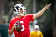 Aug 4, 2019, Irvine, CA, USA; Los Angeles Rams quarterback Jared Goff during training camp at UC Irvine. (Ed Ruvalcaba/Image of Sport)