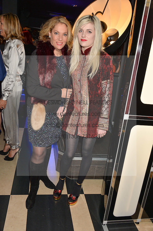 Left to right, SERAPHINA WATTS and her daughter CHARLOTTE WATTS at a party to celebrate the 1st anniversary of Hello! Fashion Monthly magazine held at Charlie, 15 Berkeley Street, London on 14th October 2015.