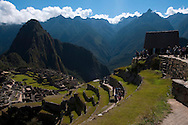 The view of Machu Picchu from the House of the Guardians in Peru.