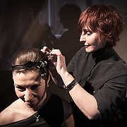 02/12/12 West Chester PA: Hairstylist Nadine from RICHARD NICHOLAS studios in Philadelphia working on model Irian Moisiu hair during Open Chair 11 Sunday, Feb. 12, 2012 at The Note in West Chester Pennsylvania...Special to Monsterphoto/SAQUAN STIMPSON